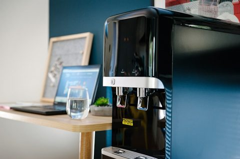 Hot and Cold Water Dispenser in black by Aussie Natural Filtration Systems and Water Filters